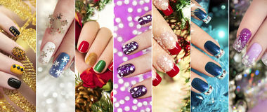 Colorful Christmas nails winter nail designs. Colorful Christmas nails winter nail designs with glitter,rhinestones, on short and long female nails royalty free stock photos
