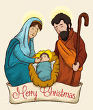 Colorful Christmas Nativity Scene of Baby Jesus, Vector Illustration Stock Image