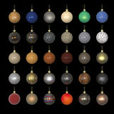 Colorful christmas new year balls made out of different materials  on black. Gold, plastic, metal, car paint. Metallic paint. 3d render Royalty Free Stock Images