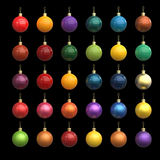 Colorful christmas new year balls made out of different materials isolated on black. Gold, plastic, metal, car paint. Metallic paint. 3d render Royalty Free Stock Photo