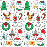 Colorful Christmas and New Year holiday seamless pattern with traditional attributes in line style. Vector Royalty Free Stock Photo
