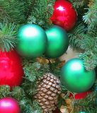 Colorful Christmas Ornaments. Adorn Family Christmas Tree royalty free stock image