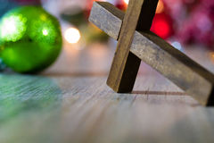 Colorful Christmas Ornaments and Christian Cross Stock Photos