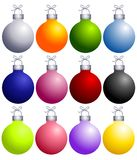 Colorful Christmas Ornaments Collection. A clip art illustration of a collection of colorful Christmas ornaments isolated on white. Choose from silver, golden Royalty Free Stock Photos