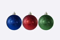 Colorful Christmas Ornaments Isolated on White Royalty Free Stock Images