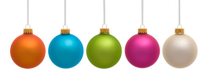 Colorful Christmas Ornaments on White Royalty Free Stock Photography