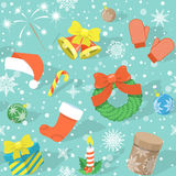 Colorful Christmas Pattern. Modern flat colorful seamless holiday pattern with Christmas Symbols: Christmas bells, Santa cap, Christmas wreath, stocking, gift Royalty Free Stock Photography