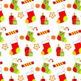 Colorful Christmas pattern with socks, sweets and candels. New year background. Colorful Christmas pattern with socks, sweets and candels. New year holidays royalty free illustration