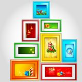 Colorful Christmas Photoframe Stock Images