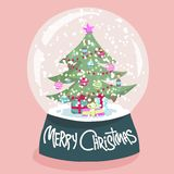 Colorful Christmas poster with cartoon snow globe Stock Photos