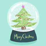 Colorful Christmas poster with cartoon snow globe Royalty Free Stock Image