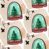 Colorful Christmas poster with cute cartoon snow globe with fir-tree on green stand. Bright festive illustration and Royalty Free Stock Photography