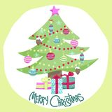 Colorful Christmas poster with cute cartoon tree Royalty Free Stock Photos