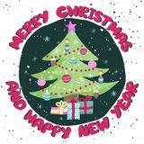 Colorful Christmas poster with cute cartoon tree Stock Images