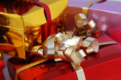 Colorful christmas presents. With pretty ribbons Stock Photo