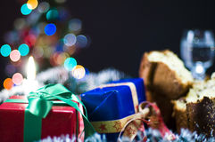 Colorful Christmas presents. Close up of colorful wrapped Christmas presents in festive scene royalty free stock photos