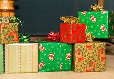 Colorful Christmas Presents. Colorful Christmas gifts in green, gold and red royalty free stock photos