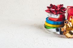 Colorful Christmas ribbons  Royalty Free Stock Photos