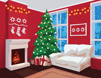 Colorful Christmas room interior with Red walls. Stock Photo