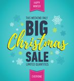 Colorful Christmas sale poster. Big sale. Holiday discount. Winter seasonal banner. Holiday banner. Shopping poster. Stock Images