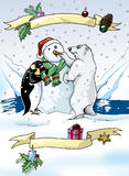 Colorful Christmas scene. Illustration of a penguin and a polar bear building a snowman royalty free illustration