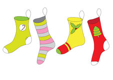 Colorful christmas socks Royalty Free Stock Images