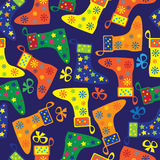 Colorful Christmas socks seamless pattern Royalty Free Stock Photo