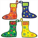 Colorful Christmas socks set isolated Stock Photography
