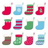 Colorful christmas socks set vector illustration. Stock Photography