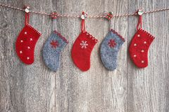 Colorful Christmas socks on wooden background. Copy space, holiday symbol. Christmas background royalty free stock photos