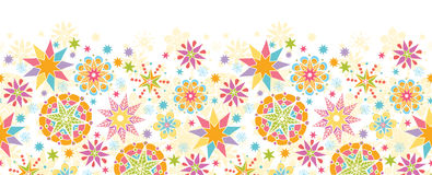 Colorful Christmas Stars Horizontal Seamless Stock Image