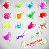 Colorful christmas stickers set Royalty Free Stock Image