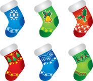 Colorful Christmas Stockings. Six Colorful Christmas Stockings isolated Stock Photo