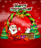 A colorful christmas template with Santa Claus Royalty Free Stock Photography