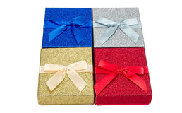 Colorful Christmas Theme Background of Four Presents Stock Photo