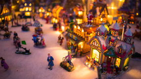 Colorful Christmas Town Night Display. Colorful miniature Christmas village night display Stock Photos