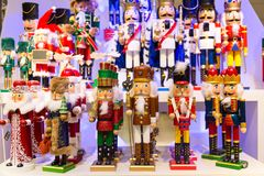 Colorful Christmas toys nutcrackers at a traditional Christmas shop in Frankfurt, Germany stock image