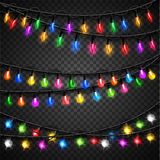 Colorful christmas transparent light bulbs Royalty Free Stock Photos