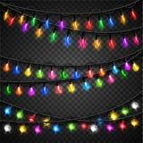 Colorful christmas transparent light bulbs Royalty Free Stock Photos