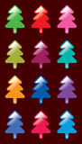 Colorful christmas tree. A colourful christmas tree icon collection greeting card Stock Image