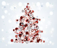 Colorful christmas tree. On a shining winter background Royalty Free Stock Image