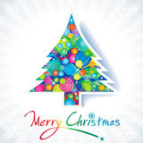 Colorful Christmas tree. With handwriting text Royalty Free Stock Photos