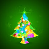 Colorful Christmas Tree. Illustration of colorful Christmas tree with sparkling snowflakes Royalty Free Stock Image