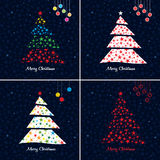 Colorful Christmas tree background set. Stock Images