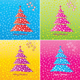 Colorful Christmas tree background set. Stock Photo