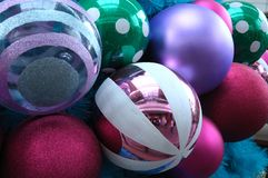 Colorful christmas tree ball ornaments. A photo taken on some baubles ornament balls decoration on a christmas tree royalty free stock images