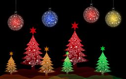 Colorful Christmas tree with Christmas ball Royalty Free Stock Photography