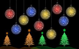 Colorful Christmas tree with Christmas ball. For greeting card vector illustration