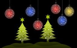 Colorful Christmas tree with Christmas ball. For greeting card royalty free illustration