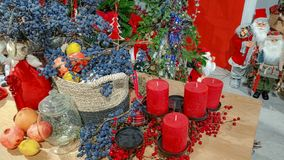 Beautiful Christmas decoration and table setting at home royalty free stock photos